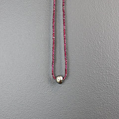 Red Garnet Stone Necklace with Tahitian Pearl