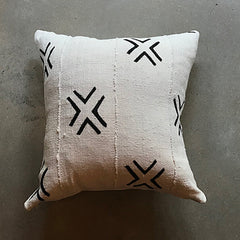 "Black + Cream African Mud Cloth Pillow - 20"" x 20"""