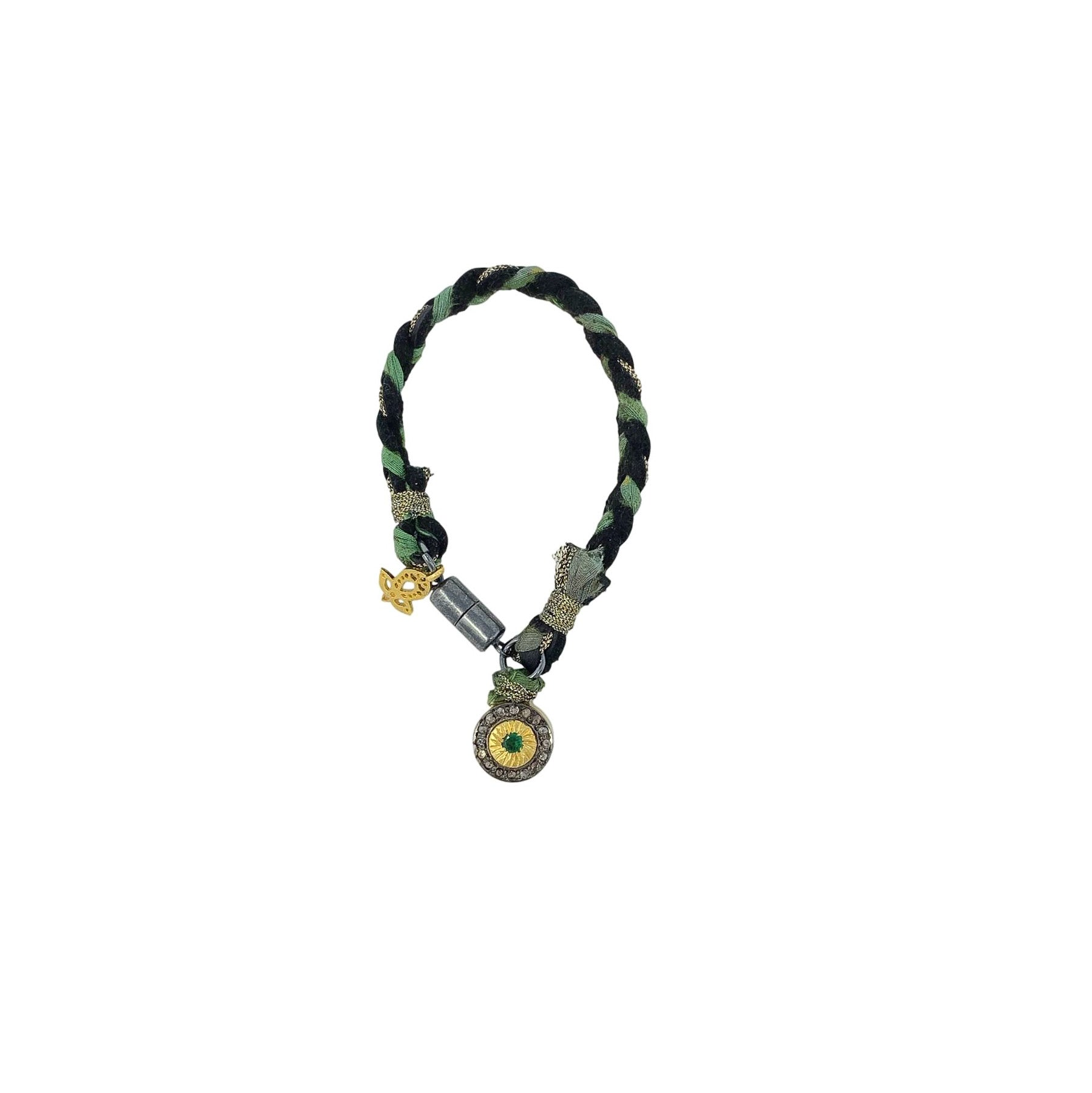 .Green + Black Woven Bracelet with Emerald Pendant