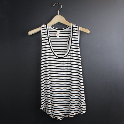 .Black + White Stripe Tank
