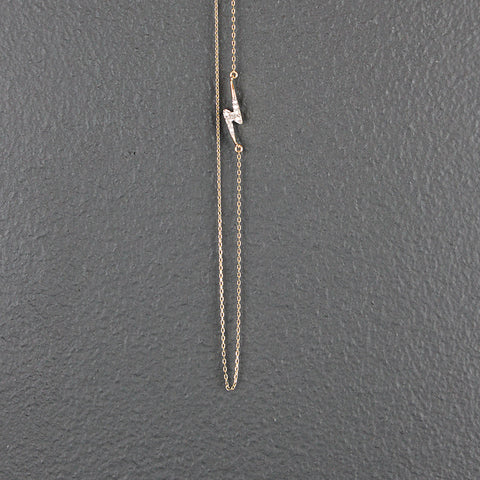 14K Gold Tiny Lightening Bolt Necklace with Pave Diamonds