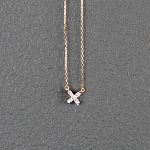 14K Gold Tiny X Necklace with Pave Diamonds