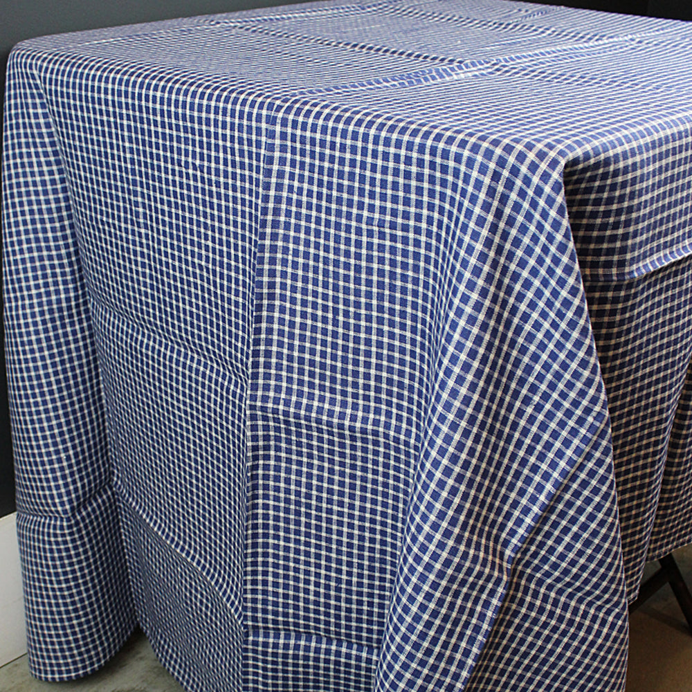 Blue + White Checkered Linen Tablecloth