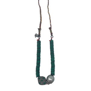 .Green Emerald + Tahitian Pearl Necklace
