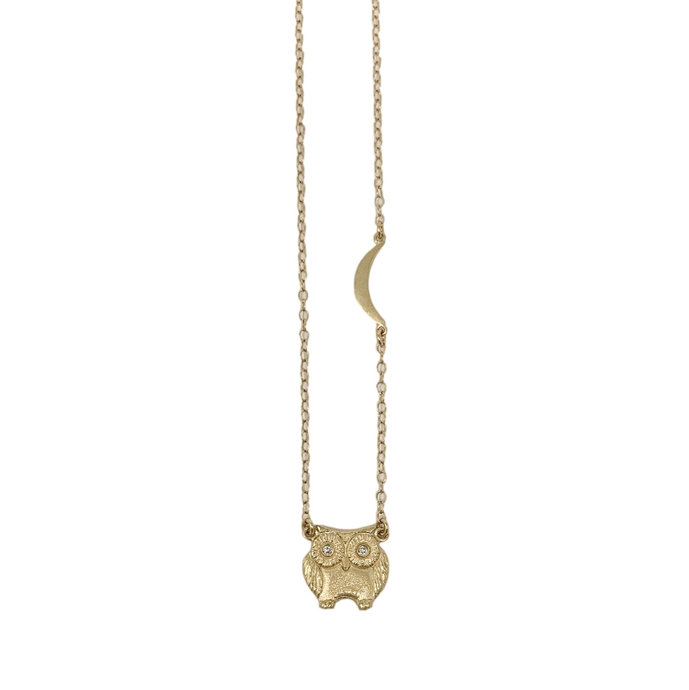 .Gold 14K Owl Necklace with Diamonds