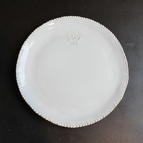 White Handmade Beaded Dinner Plate