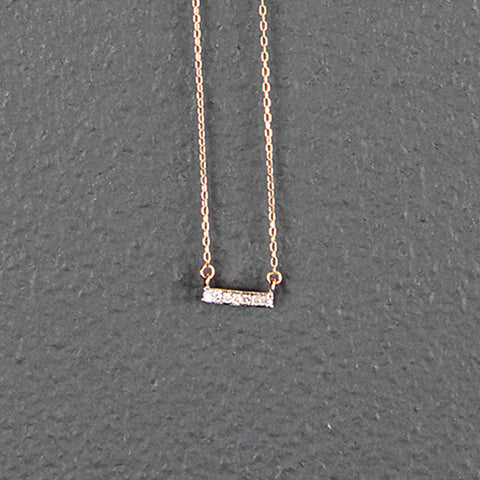 14K Gold Tiny Bar Necklace with Pave Diamonds