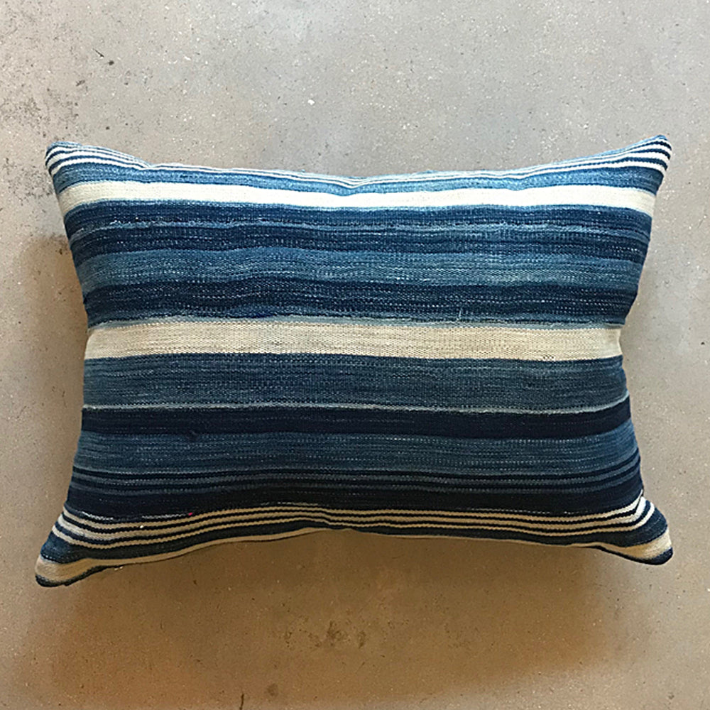 "Blue African Mud Cloth Pillow - 21"" x 15"""