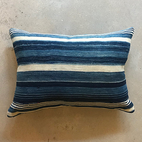 ".Blue African Mud Cloth Pillow - 21"" x 15"""