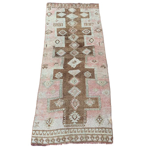".Brown + Pink Vintage Runner - 3' 11"" x 10' 5"""