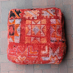 Red Vintage Moroccan Textile Pouf