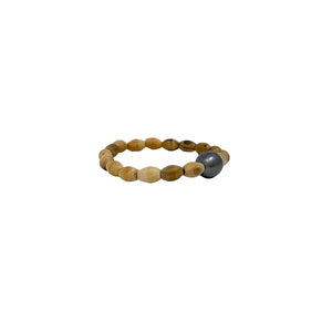 Brown Wooden Bead + Pearl Bracelet