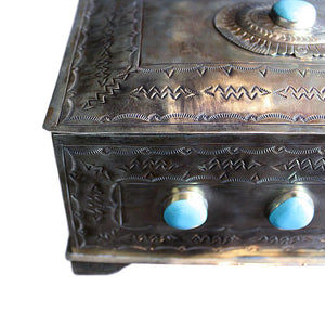 Silver Hand-stamped Box with Turquoise - Large