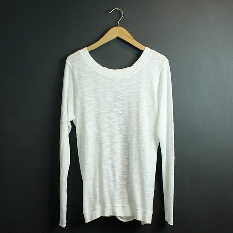 White Switch Back Sweater