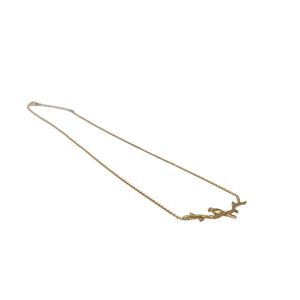 Gold 14K Bird on Branch Necklace with Diamond