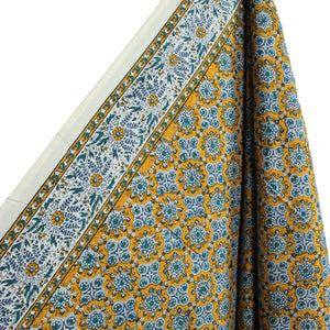 .Yellow + Blue Hand Block Printed Tablecloth - Rectangle