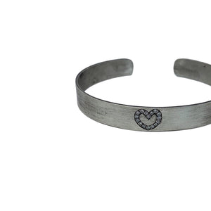 .Silver Heart Cuff with Diamonds