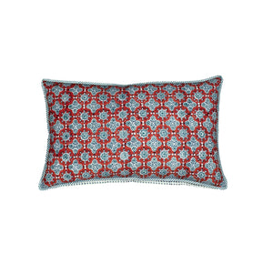 ".Red + Blue Hand Block Printed Pillow - 26"" x 16"""