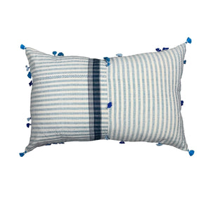 ".Cream + Blue Stripe Handmade Pillow - 24"" x 16"""
