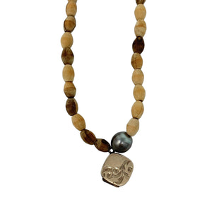 Brown Wooden Bead + Pearl Necklace