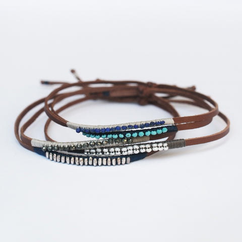 .Brown Leather Bracelet with Stones