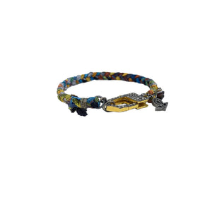 .Multi Colored Woven Bracelet with Pave Diamond Clasp