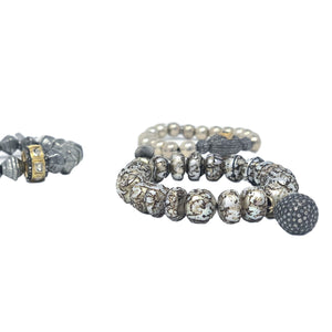Silver Beaded Bracelet with Rosecut Diamond Bead *more options available*