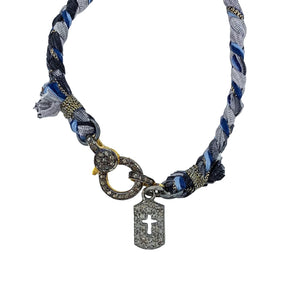 .Blue + Grey Woven Bracelet with Pave Cross Pendant