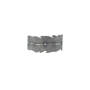 .Silver Leaf Cuff with Diamonds