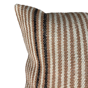 "Beige Stripe Handwoven Wool Pillow - 24"" x 24"""