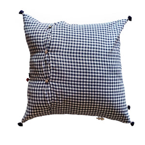 "Blue + Cream Gingham Handmade Pillow - 24"" x 24"""