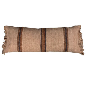 ".Brown Stripe Handwoven Wool Pillow - 35"" x 14"""