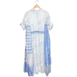 White + Blue Handwoven Dress