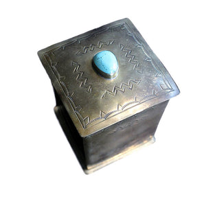 Silver Hand-stamped Box with Turquoise