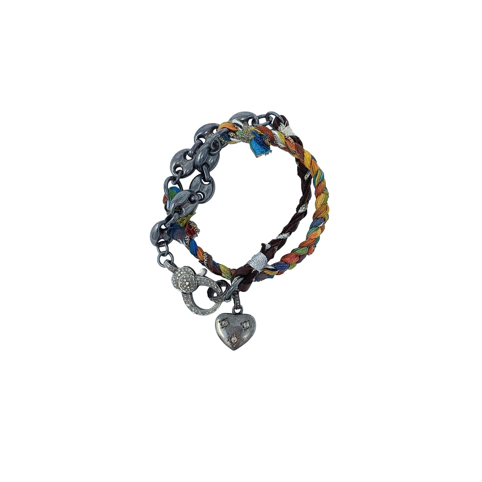 .Multi Colored Diamond Heart Wrap Bracelet