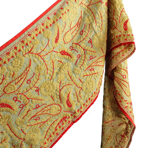 .Red + Cream Embroidered Dupatta