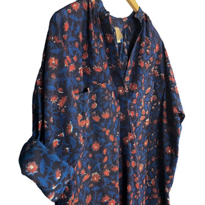 .Blue + Orange Floral Print Caftan
