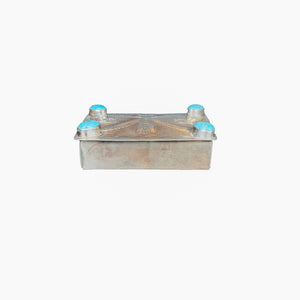 Silver Hand-stamped Repousse Box with Turquoise - Small