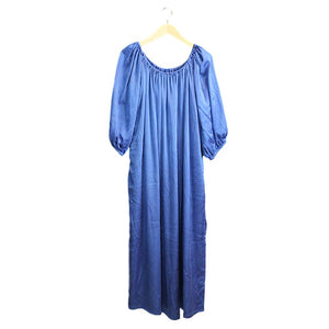 Blue Off Shoulder Silk Dress