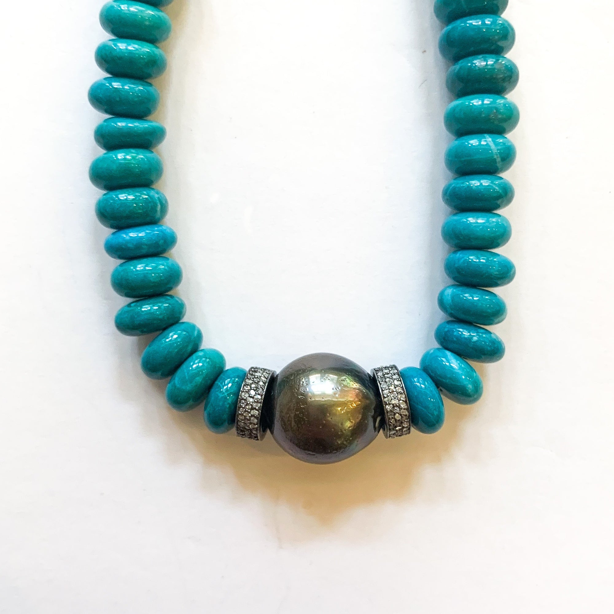 Blue Turquoise + Tahitian Pearl Necklace