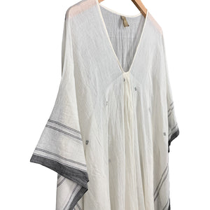 Cream + Black Caftan Dress