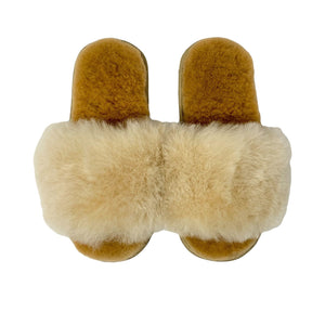 .Brown Alpaca Slippers