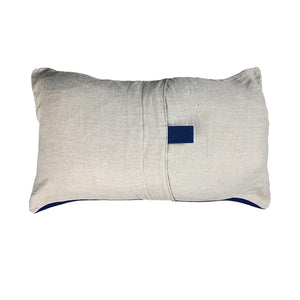 "Blue + Cream Chevron Pillow - 15"" x 25"""