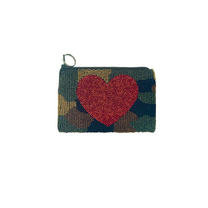 Multi Colored Beaded Coin Pouch - Heart