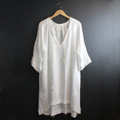 White Cotton Mid Length Caftan