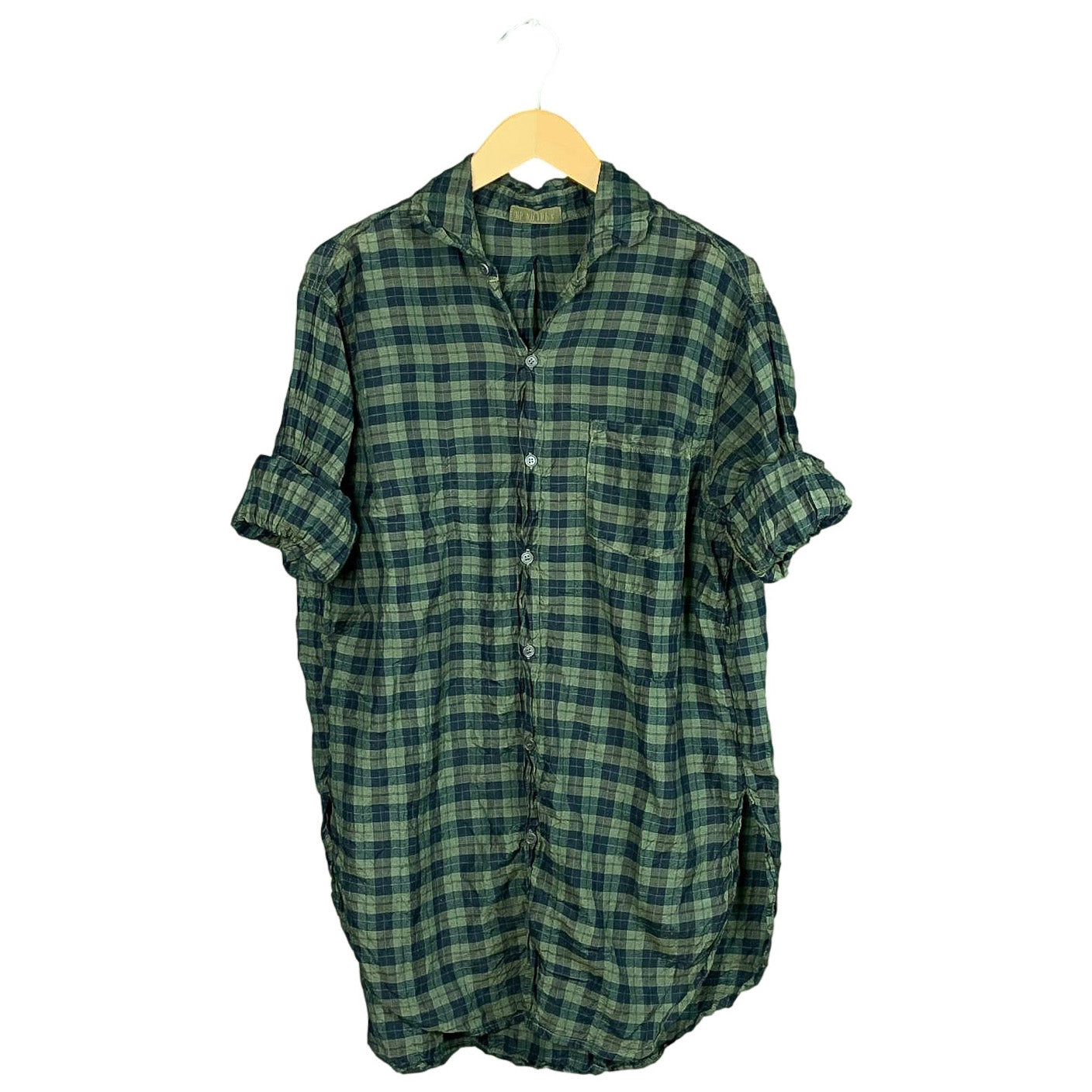 .Green Plaid Silk Shirt