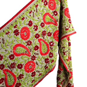 .Red + Green Embroidered Dupatta