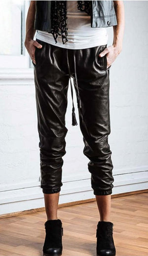 .Black Leather Joggers