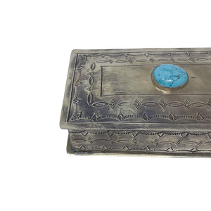 Silver Hand-stamped Box with 3 Turquoise Stones