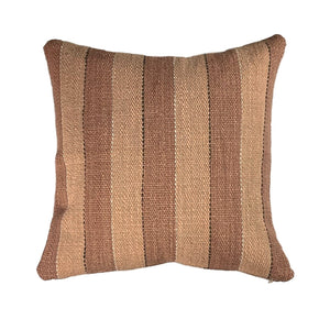 "Brown Stripe Handwoven Wool Pillow - 24"" x 24"""